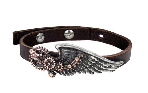 Alchemy gothic nero Baron Steampunk Wingstrap bracciale in pelle