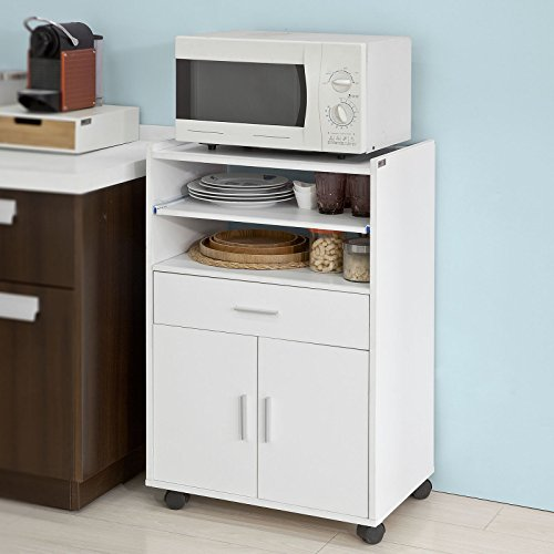 Foto de SoBuy®Aparador auxiliar bajo de cocina para microondas,con 2 puertas y 1 cajón,L59 cm x P40 cm x H92 cm,FSB09-W,ES