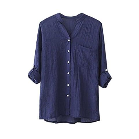 Frauen 3/4 Ärmel Shirt,Moonuy Frauen Baumwoll-Shirt Leinen Langarm-Shirt Elegant Slim Bluse Casual Loose Bluse Button Down Tops Chic Tops Vintage Tops Freizeit T-Shirt (XL, Blau)