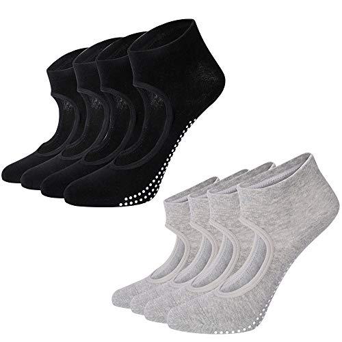 Yoga Socken,Welltop Pilates Socken mit Rutschfeste Sportsocken mit Gummisohlen Ideal für Yoga Tanz Fitness (4 Paar )