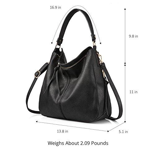 57238ba2b91fc ... Handtaschen Damen Umhängetasche Hobo Tasche Ledertasche groß handtasche  für frauen Schwarz
