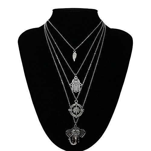 ZUXIANWANG Collar de Plata Vintage Collares Gargantilla Colgante Multicapa para Mujeres Joyas...