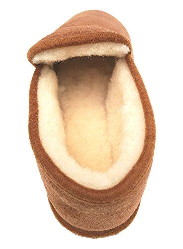 Pantoffeln, echtes Merino-Schaffell Camel