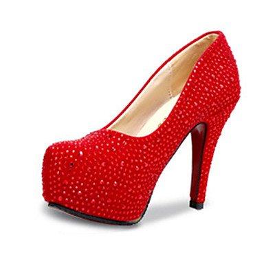 Moda Donna Sandali Sexy donna tacchi tacchi estate pu Casual Stiletto Heel Sequin Rosso / Argento Altri Silver