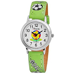 Qbos Kinderuhr Weiß Grün Fußball Analog Metall Kunst-Leder Quarz Armbanduhr