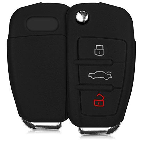 kwmobile Funda de Silicona para Llave Plegable de 3 Botones para Coche Audi - Carcasa Protectora Suave de Silicona - Case Mando de Auto Negro