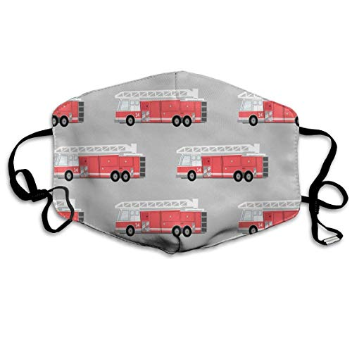 Mouth Mask Earloop Face Mask Fashion Polyester Breathable Mask - Firetruck Adjustable Elastic Strap Windproof Face and Nose Cover, Reusable & Washable