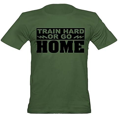 Urban Shaolin Mens Train Hard Or Go Home MMA Armee inspiriert mit Rundhalsausschnitt-angepasstes T-Shirt, Xtra Large, Grün