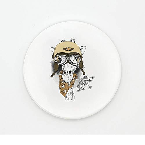 Brown Ovalen Esstisch (ZCHPDD Tier Motorrad Hand Kreative Niedliche Isolierte Keramik Runde Tür Tumbler Esstisch Bahn Muster 07 10,2 * 0,6 cm * 4 Stücke)