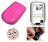ZENXEAY Schutzhülle, Display und Sensor Sticker Set für Freestyle Libre 1 & 2 Blutzucker Messgerät, 5 teilig PINK
