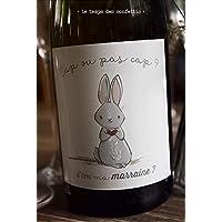 Etiquette de demande de marraine originale petit lapin pour coller sur une bouteille