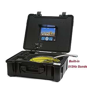 GooQee pic003-l impermeabile sistema di scarico tubo di fogna telecamera di ispezione professionale con 512Hz Sonde, Sensore CCD Sony, DVR TFT da 7e 8GB scheda SD