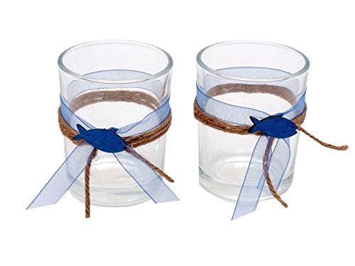 ZauberDeko 2X Teelichtglas Kommunion Konfirmation Tischdeko Blau Fisch Vintage David