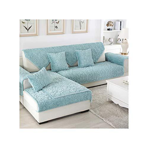 HGblossom Plüsch Sofakissenbezug Sitz Schonbezug Fall Armless Sofa Handtuch Blatt Couch Gesteppte rutschfeste Abdeckung Für Wohnzimmer Grün 04 30X50 cm Pillowc -