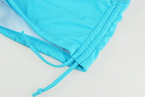 ReliBeauty Damen Verstellbare Kordel BŠnde Elastische Taille Boyshorts Falten Badeshorts Blau