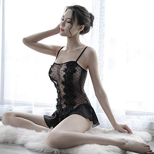 Sling Nachthemd Sommer sexy Lady sexy Gurt Nachthemd Welle Rock Schaukel Spitze Schlinge Korsett Rock Hause Pyjama zweiteilige schwarz Code Court Womens-rock