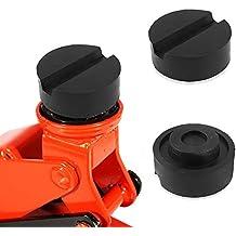 Bloque de goma, Aodoor Rubber Jack Pad con ranura para plataforma elevadora gato hidráulico, 65mm X 25mm (negro)