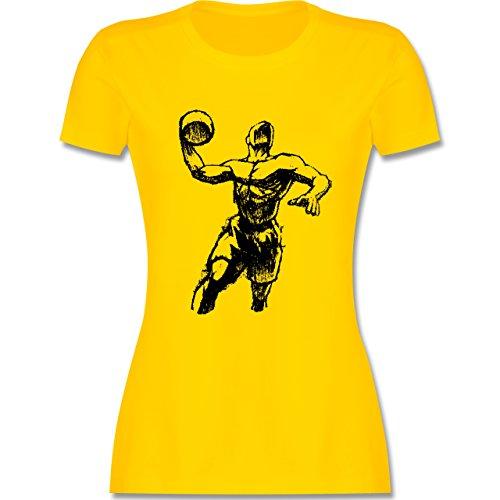 Basketball - Basketball Sprungwurf - tailliertes Premium T-Shirt mit Rundhalsausschnitt für Damen Gelb