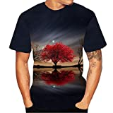 TianWlio Tops T-Shirts Herren Sommer 3D Flood Gedruckt Kurzärmlig T-Shirt Oben Bluse Schwarz XL