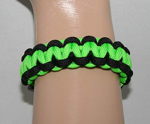 Paracord Armband in neongrün und schwarz