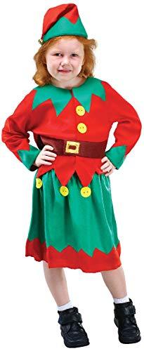 (Mädchen süße Elfe Santas Helfer Weihnachten Weihnachten Festlich Fun Feier Kostüm Outfit)