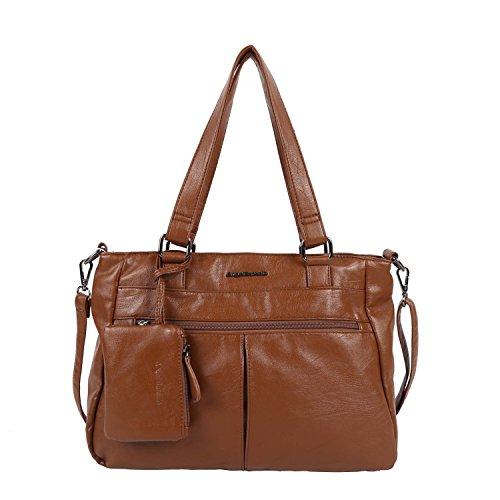 Angel Barcelo Zimmery Hobo Damen Handtaschen Damen Geldbeutel Umhängetasche Schultertaschen Tote gewaschen Ledertasche passende Geldbörse (KP162077-Borwn) -