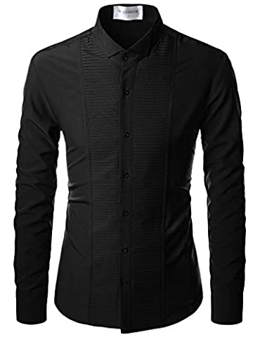 Nearkin (NKNKS660) Mens Plated Stretchy Slim Fit Button Up Dress Shirts BLACK UK S(Tag size S)
