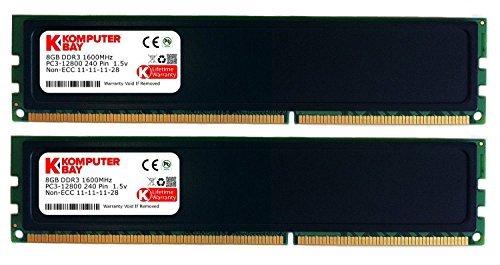 Komputerbay-RAM 16GB (2 x 8 GB), DIMM 240 Pin, DDR3 PC 3-12800 1600MHz memoria RAM per sistemi Desktop con dissipatore, colore: nero