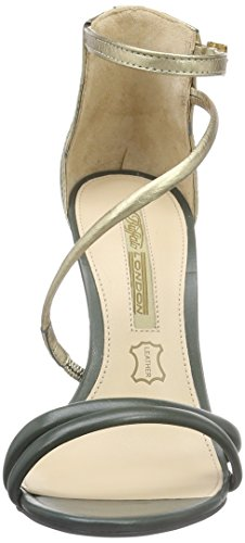 Buffalo London 25243X-1042, Sandali donna dunkelgrau/gold