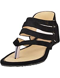 Peijania Women's Black Fashion Sandals - 10 UK