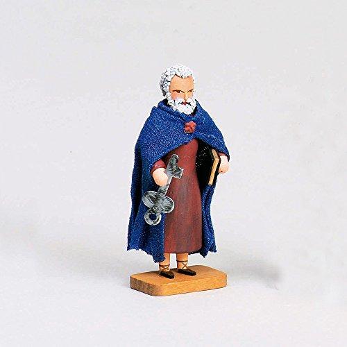 """Werner-Figuren, """"Apostel Petrus mit Schlüssel und Buch"""", Holzfigur, 8 cm, handgefertigt, Kunsthandwerk aus dem Erzgebirge"""