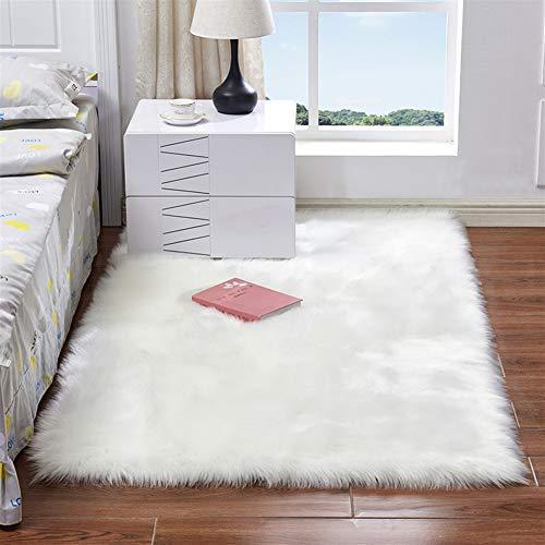 Liveinu tappeto shaggy pelo lungo pelliccia sintetica lana tappeti in pelle di agnello artificiale decorazione per camera da letto soggiorno 40x40cm bianco