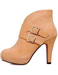 XZZ/ Zapatos de mujer - Tacón Stiletto - Botines / Punta Redonda - Botas - Vestido / Casual - Semicuero - Azul…