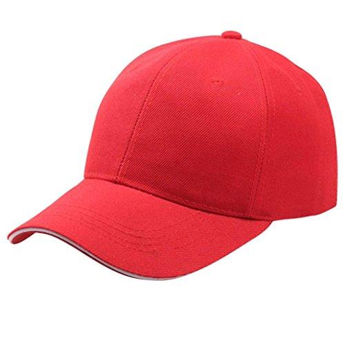 Sonnena Basecap, Unisex Sommer Cap Einfarbig Snapback Baseball Cap Freizeit Hip Hop Kappen Draussen Sport Reisen Sonnenhut Baseballkappe Einstellbar Hut Hüte Mützen (Rot)