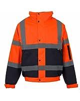 Fk Styles Mens 2 Two Tone Hi Viz Bomber Reflective Waterproof Padded WorkWear Jacket