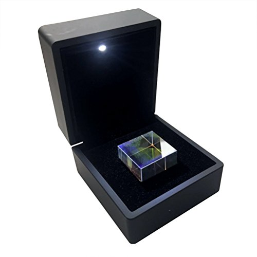 ukcoco 1Stück 2.3x 2.3x 2.3cm optisches Glas RGB Dispersion Prisma Kubus mit Box für Lernen Licht Spektrum Physik und Kunst Decor