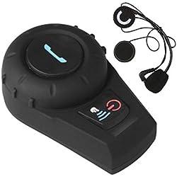 Suntime Kit Main Libre Intercom Moto Duo Oreillette Bluetooth Casque Moto avec Micro Système de Communication Moto Pilote Passager sans Fil Interphone 500M Noir
