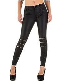 Damen Hose Lederhose Imitat Biker Skinnyhose Röhrenhose Karottenhose Schwarz b3c8a0c8b7