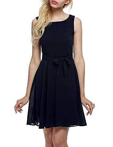 Aimado Damen-beiläufige O-Ansatz Sleeveless A-line faltete Kleid, Kurzes Chiffon-Kleid ohne Ärmel, Schlichtes Kleid mit Bindeband (XL,
