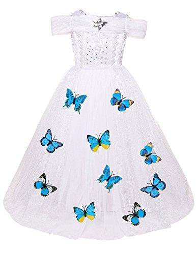 YaoDgFa Mädchen Prinzessin Kleid Maxi Lang Kinder Hochzeit Parteikleid Karneval Schmetterlinge Kostüm Cosplay (Kleid Hochzeits Halloween Kostüme)