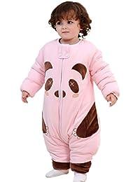 Happy Cherry 2 en 1 Pyjama Grenouillères Combinaison Enfant Bébé Sac de Couchage Imprimé Cartoon Panda Gigoteuse Épais en Coton avec Manches Amovibles pour Nouveau-né ( 6-30mois )3 Couleurs