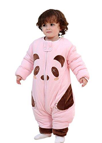 Happy Cherry 2 en 1 Pyjama Grenouillères Combinaison Enfant Bébé Sac de Couchage Imprimé Cartoon Panda Gigoteuse Épais en Coton avec Manches Amovibles pour Nouveau-né 18-30mois Rose