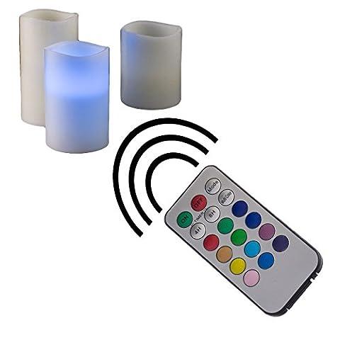 LED Kerze aus Echtwachs 3er Set mit RGB Fernbedienung leuchtet in 12 verschiedenen Farben