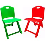 Plastic Chairs for Kids Set of 2 (Green & Red)