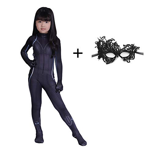 CVFDGETS Schwarze Witwe Cosplay Kostüm Kleid Party Thema Party Film Leistung Requisiten Overall Weihnachtsfeier Kleid Requisiten Kind,ChildrenL (Schwarze Witwe Kostüm Kleid)
