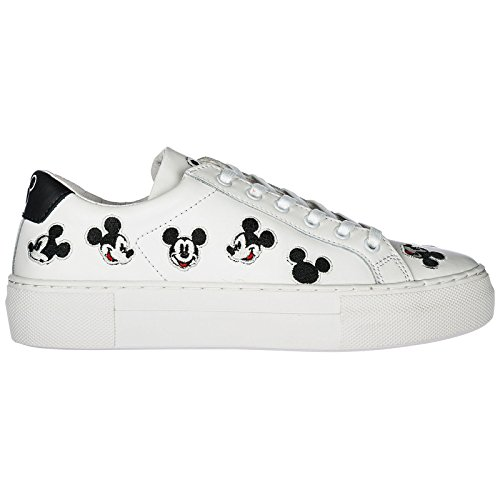 MOA Master of Arts Chaussures Baskets Sneakers Femme en Cuir Mickey Blanc