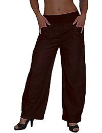 S&LU luftig leichte Damen Leinenhose Pluderhose Haremshose in aktuellen Trend-Farben M-XXXL