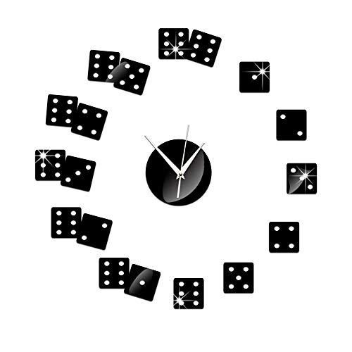 AIKAI Wohnzimmer Hintergrund Wanduhr Spiegel DIY kreative Dekoration Poker und Würfel