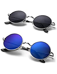 ETRG Black/Blue Round Metal Body Men's and Women's Sunglass (55)