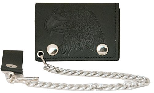 Geldbörse aus echtem Leder, mit Kette, (Verschiedene Drucke und Farben) -